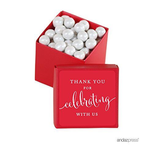 Andaz Press Mini Square Party Favor Box DIY Kit, Thank You for Celebrating With Us, Red, 20-Pack, For Birthday, Wedding Party Favors, Decorations (Box Designer Red Treat)