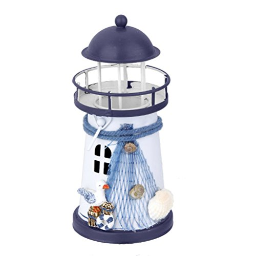 Miniature Lighthouse (WINOMO Lighthouse Model Nautical Marine Decoration Tealight Candle Holder (Blue White))