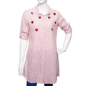 Puanli Red Cotton Shirt Neck Shirts For Women