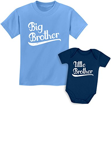 Sibling Shirts Set for Big Brothers and Little Brothers Boys Gift Set Kids Shirt California Blue/Baby Navy Kids Shirt 4T / Baby 6M