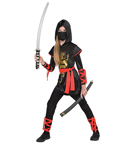 Asian Girl Halloween Costumes (AMSCAN Ultimate Ninja Halloween Costume for Girls, Medium, with Included)