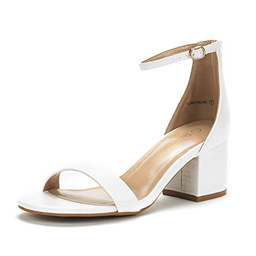 DREAM PAIRS Women's Low-Chunk White Pu Low Heel Pump Sandals - 8.5 M US (White Heel Low)