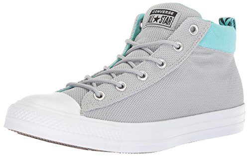 Converse Men's Street Nylon Mid Top Sneaker, Wolf Grey/Bleached Aqua/White, 8 M - Mid Converse Top Men