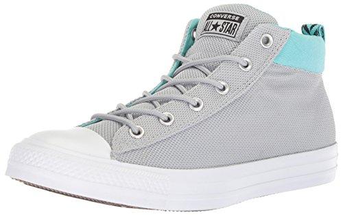 Omgekeerde Mens Street Nylon Mid Top Sneaker Wolf Grijs / Gebleekt Aqua / Wit