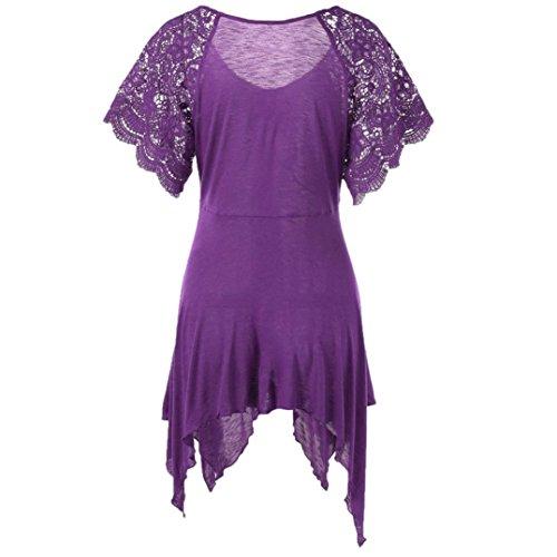 QinMM Fleur Shirt Sexy T Papillon Femmes Blouse ud Violet Grande Mode Dame Camisole Dentelle Gilet Manches Tops N Slim Taille Chemisier Lacet Courtes Dbardeur rW0vrd4q5