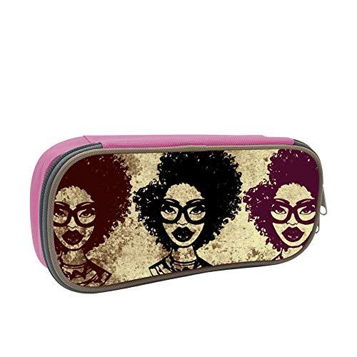 dandanSun Dim Afro Woman Puss Pencil Case Student Canvas Pen Box Stationery Pouch Multilayer Storage Bag -