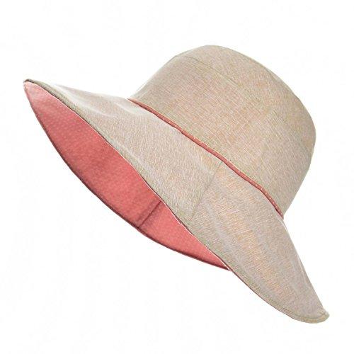 (VOBOOM Women Reversible UPF50+ Linen/Cotton Summer Sunhat Bucket Packable Hats)