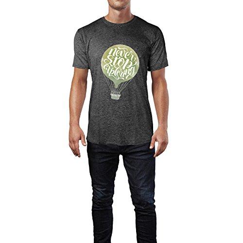 SINUS ART® Never Stop Exploring Kalligraphie mit Heißluftballon Herren T-Shirts in dunkelgrau Fun Shirt mit tollen Aufdruck
