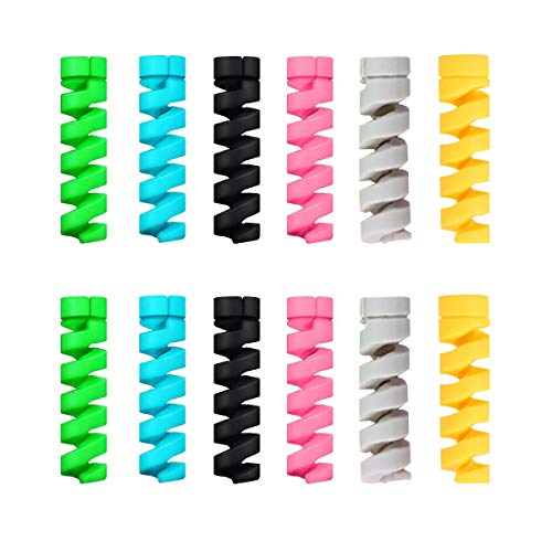 Yamlion Charger Cable Protector, 12 PCS Spiral Cable Protector Charger Cable Saver Micro USB Protector PC/Notebook Charging Cable Saver for All Cell Phones, Computers and Chargers, Multicolor