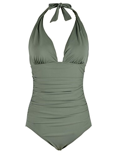 Firpearl Women's Retro 50s One Piece Swimsuit V Neck Halter Ruched Bathing Suit Green 8