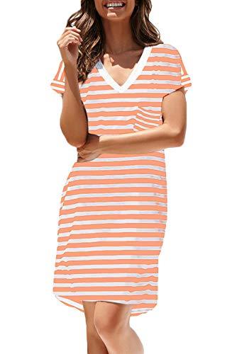 (NERLEROLIAN Women T-Shirt Stripe Dress with Pockets V-Neck Knee Length Loose Tunic Summer Dress (Pink Stripe, Small))