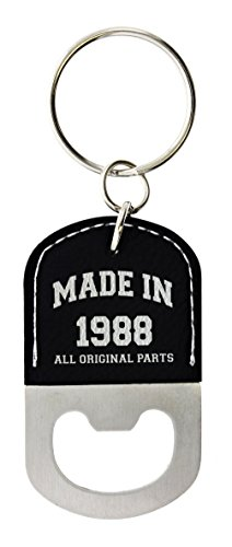 30th Birthday Gifts for Men Made 1988 30th Birthday Gift Ideas Leather Bottle Opener Keychain Key Tag Black