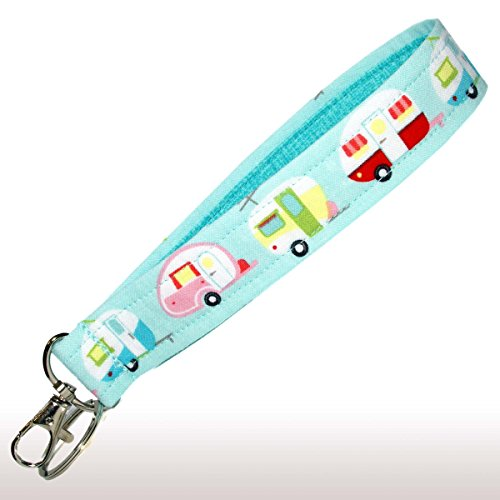 Camping Key Fob Wristlet - Camper Keychain - Blue Glamping Trailers - RV Accessories - Purse Strap