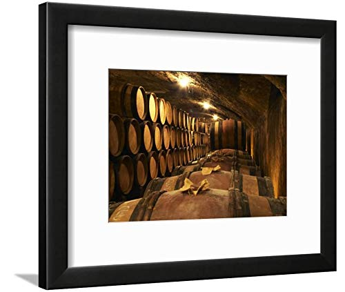 ArtEdge Wooden Barrels with Aging Wine in Cellar, Domaine E Guigal, Ampuis, Cote Rotie, Rhone, France by Per Karlsson, Black matted Wall Art Framed Print, 9x12, Soft White