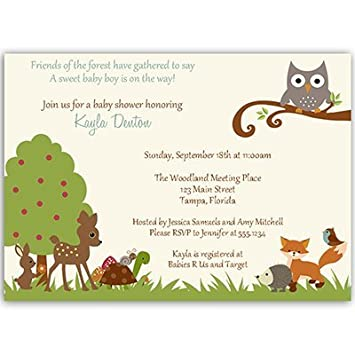 Amazon woodland baby shower invitations forest animals woodland baby shower invitations forest animals treetop owl deer fox filmwisefo Images