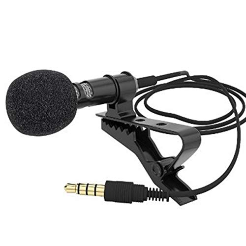 Microphone Condenser Clip-on Lapel Lavalier Mic Wired for Phone Laptop Highly Sensitive Hand-Free Microphone