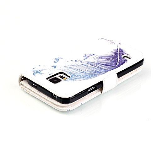 Para Smartphone Samsung Galaxy S5/i9600Funda Flip Cover Funda Piel [Tarjetero] funda piel cartera Executive Diseño + Polvo Conector rojo 6 2