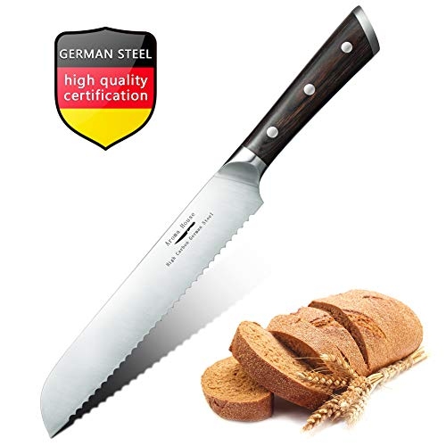 Ultra-Sharp Serrated Bread Knife 9 Inch, High Carbon Stainless Steel Bread Cutter with Ergonomic Comfortable Wood Non Slip Handle Forged Bread Knife,Scalloped Blade Slicer Kitchen Knife Gift Box