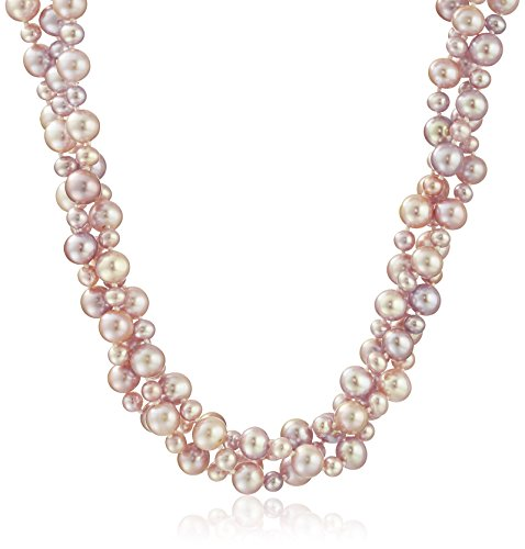 Cultured Pearl Twisted Necklace (Sterling Silver 4-8mm Pink High Luster Twisted 3 Rows Cultured Freshwater Pearl Strand Necklace, 18