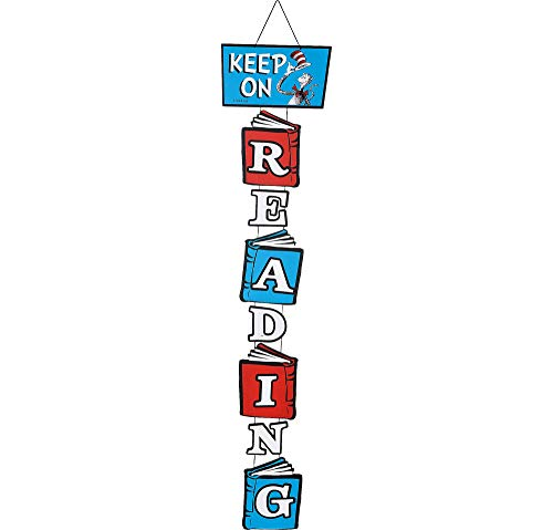 Dr Seuss Classroom Ideas (Amscan Dr. Seuss Cat in the Hat Stacked Reading Sign, Attached Loop, 6 1/4