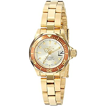 Invicta Womens 12527 Pro-Diver 18k Gold Ion-Plated Stainless Steel and Champagne Dial Bracelet Watch