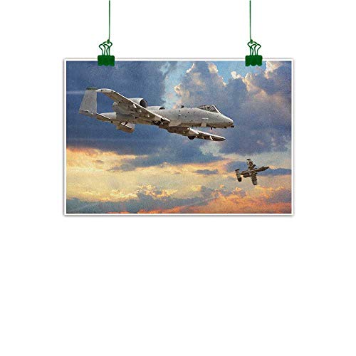 Josepsh Modern Canvas Painting Wall Art Airplane Peacekeepers Mission Jet Up International Military Force Combat Flight Picture Blue Silver Room Decorative Painting W24 x H16