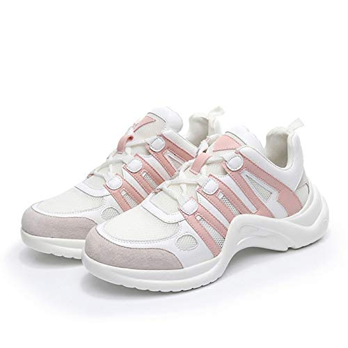 Vulcanize Female Leisure Up Soft Shoes Breathable Mesh High GUNAINDMX Pink Fashion Women Lace Footwears Casual Sneakers BOwYX1qa