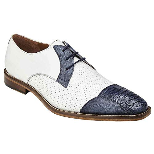 Belvedere Monaco Blue Safari & White Genuine Ostrich and Italian Calf Men's Cap Toe Shoes - 11