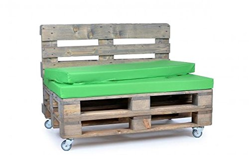 Palettenkissen, Gartenmöbel Auflagen, Sitzbankauflage, Matratzenauflagen auch m. Rückenlehne bzw. Dekokissen in Nylon, grün, wasserabweisend und strapazierfähig