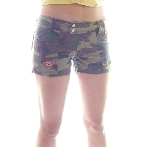 Molecule Women's Hardworking Hip-Huggers Mid Waist Regular Fit Cotton Short Shorts | USA 6/M (Tag L) Euro Woodland Camo ()