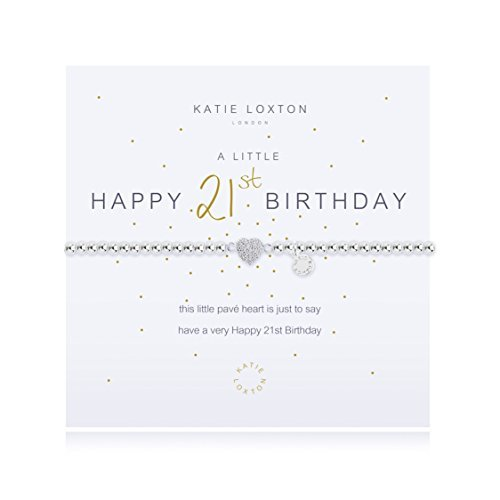 21st Birthday Girl Outfits (Katie Loxton A Little Happy 21st Silver Women's Stretch Adjustable Charm Bangle)