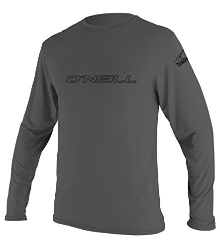 Simply Swim Mens Clothing - O'Neill Wetsuits Men's Basic Skins UPF 50+ Long Sleeve Sun Shirt, Smoke, Medium