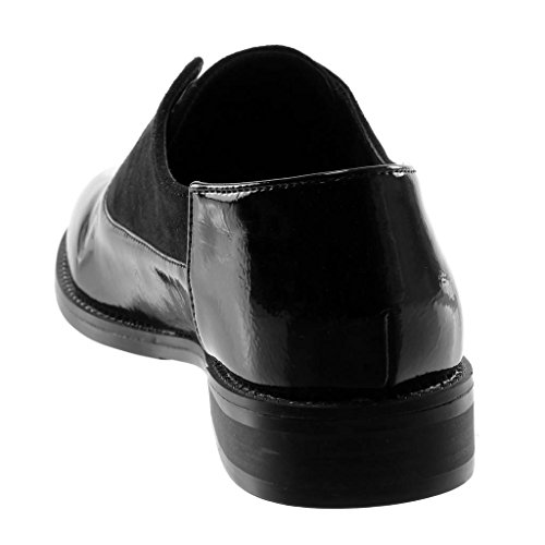 Noir Verni perforée Angkorly on clouté Mode Derbies 5 CM Slip matière Chaussure Talon bi Femme Bloc 2 q1xaw