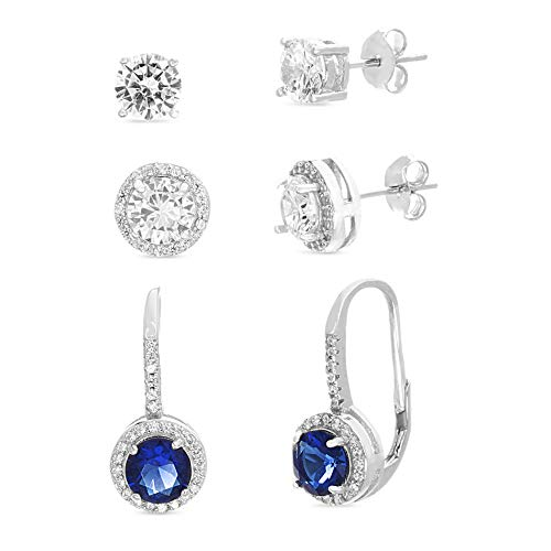 MIA SARINE 6mm Round Cubic Zirconia and Simulated Sapphire Stud Combo and Leverback 3 Pair Bridal Gift Earring Set for Women in Rhodium Plated 925 Sterling Silver (Blue)