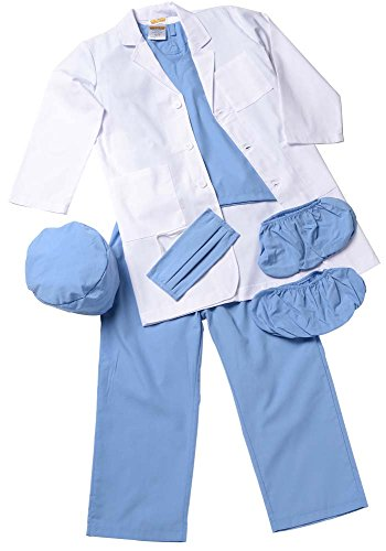 Aeromax Jr. Physician set with Blue Doctor Scrubs and White Lab Coat, size 6/8.