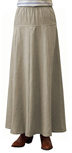 Womens Ultra Soft Lightweight Denim Fit and Flare A-Line Maxi Skirt (Large, Khaki) - Denim Lightweight Skirt