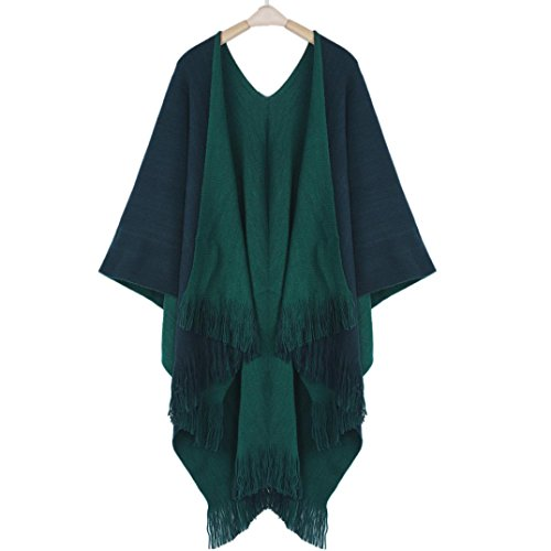 Binmer(TM)Women Winter Knitted Shawl Cashmere Poncho Capes Cardigans Sweater Coat (Green)
