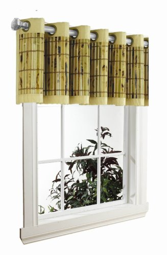 (Versailles Home Fashions Bamboo Valance, 72 by 12-Inch, Ivory/Green)