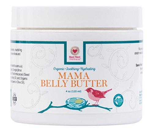 Best Nest Mama Body Butter, 100% Organic Stretch Mark Prevention Cream & Intensive Moisturizer, 4 oz, Sweet Orange Scent