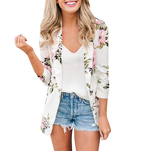 Women Ladies Business Blazer,RNTOP Retro Floral Print Work Suit Office Coat Lapel Bomber Jacket Outwear (L, White)