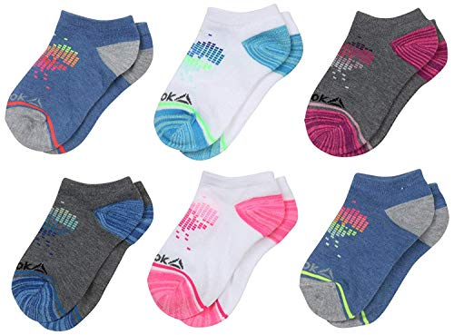 ('Reebok Girls' Flat Knit Comfort Athletic Low Cut Socks (6 Pack), Multi Colored, Size Medium/Shoe Size: 8.5-2')