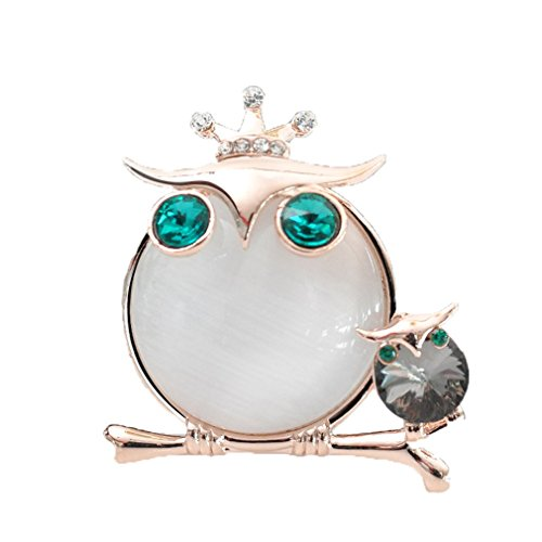 Sewanz Women's Charm Cute Owl Opal Diamante Metallic Scarves Buckle, Multi-uses Silk Scarf Clip Brooch - Buckle Silk