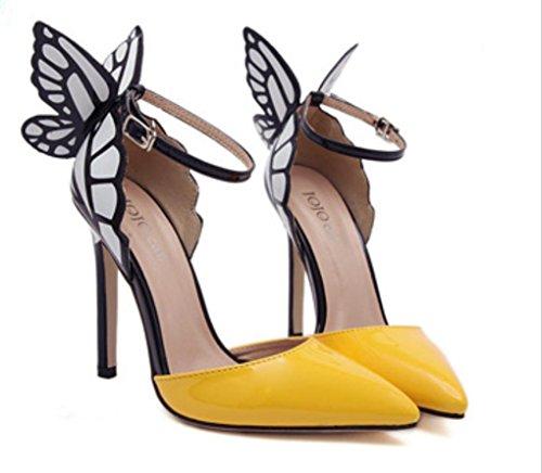hauts Butterfly yellow Wing pointus Chaussures talons femmes hauts HOT classiques sandales SALE chaussures à violet talons à p88xHa