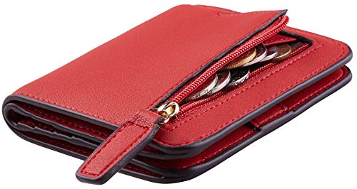 Toughergun Womens Rfid Blocking Small Compact Bifold Luxury Genuine Leather Pocket Wallet Ladies Mini Purse with ID Window (ReNapa Red Classic)