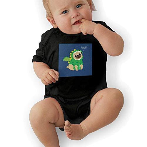 Infant Jersey Bodysuits Cute Pug with Dragon Costume Newborn Babys 0-24M Organic Cotton Trottie Outfit Black ()
