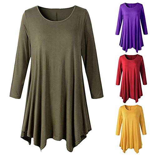 3 Et Haut Ourlet Color Chemise Blanc Irrgulier Tops Chemisier 3XL Rond Col 4 Casual Femme Chic Confortable Fit Manches Unicolore Shirts Size Elgante Costume qqS5zr