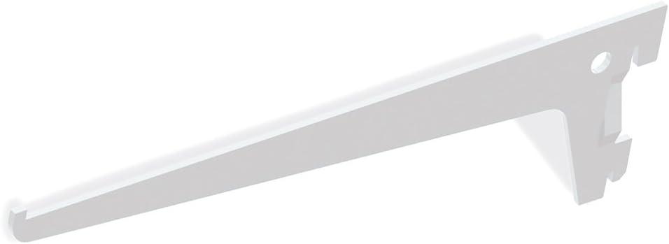400mm Emuca 7908412 Escuadras de estante para perfil cremallera perforaci/ón simple paso 50mm Blanco Set de 20 piezas
