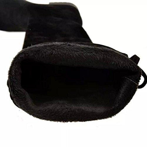 Botas Mujer,Ouneed ® Moda de invierno de las mujeres de tacón medio de color sólido Bottom botas de rodilla de la pierna alta botas largas Negro
