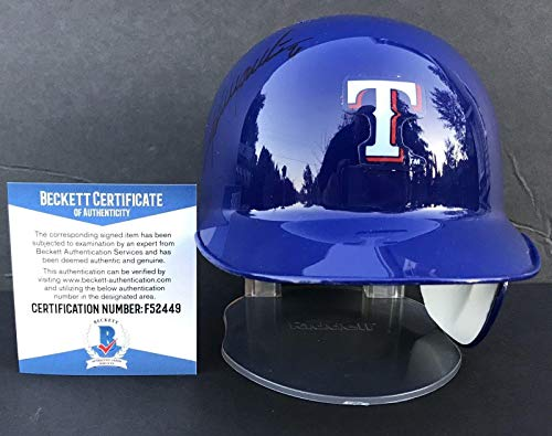 (EL KOJA!!! Adrian Beltre Signed TEXAS RANGERS Riddell Mini Helmet Beckett BAS - Beckett Authentication)