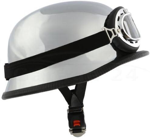 Ato Wh1 Chrom Motorradhelm Mit Fliegerbrille Stahlhelm Größe Xxl 62cm Auto